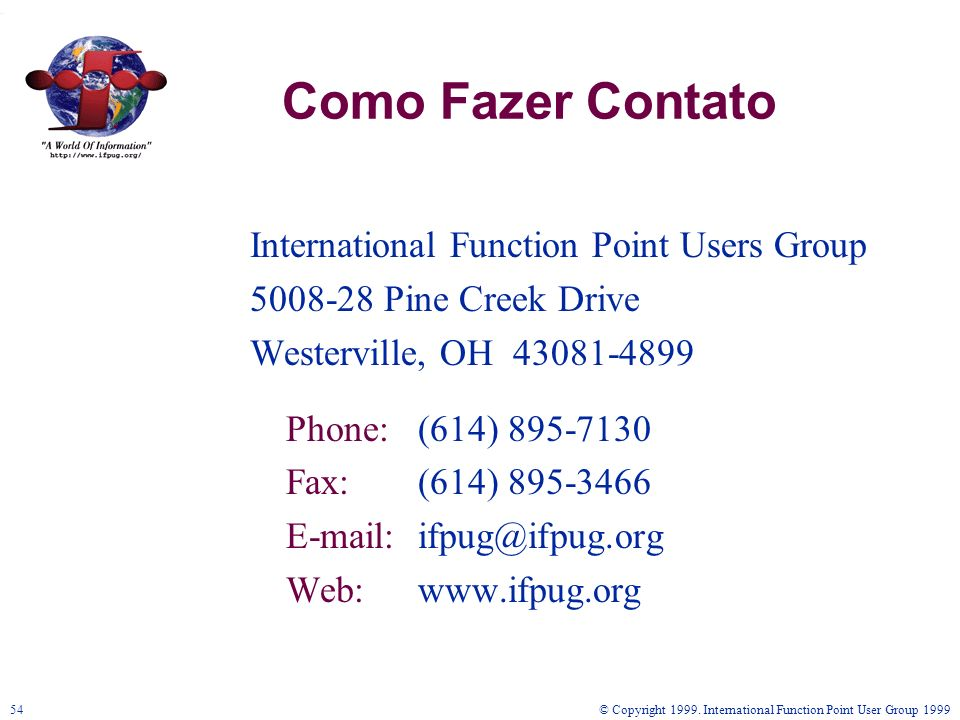 Como Fazer Contato International Function Point Users Group