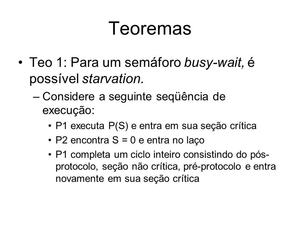 Teoremas Teo 1: Para um semáforo busy-wait, é possível starvation.
