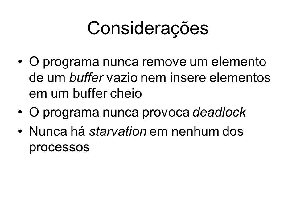 Considerações O programa nunca remove um elemento de um buffer vazio nem insere elementos em um buffer cheio.