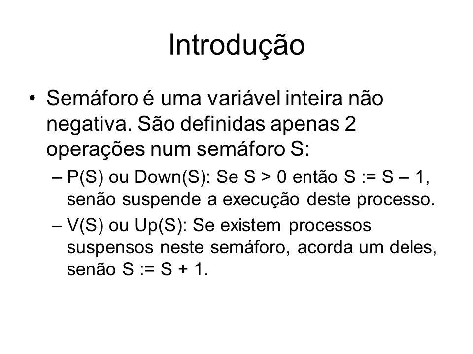 Introdução Semáforo é uma variável inteira não negativa. São definidas apenas 2 operações num semáforo S: