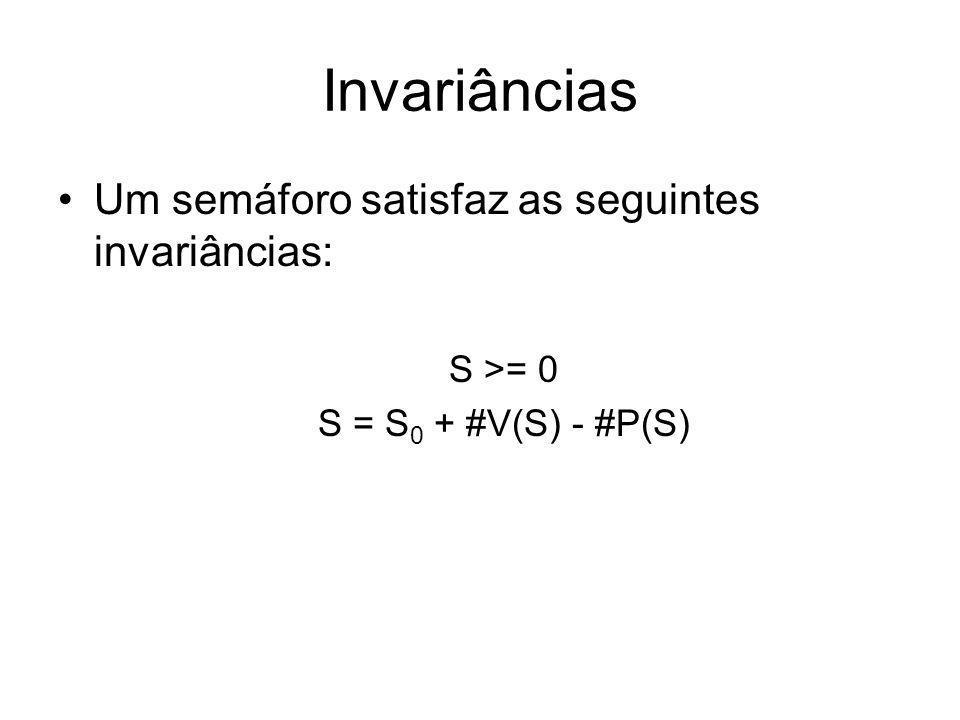Invariâncias Um semáforo satisfaz as seguintes invariâncias: S >= 0