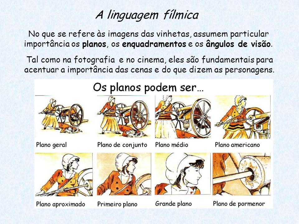 A linguagem fílmica No que se refere às imagens das vinhetas, assumem particular importância os planos, os enquadramentos e os ângulos de visão.