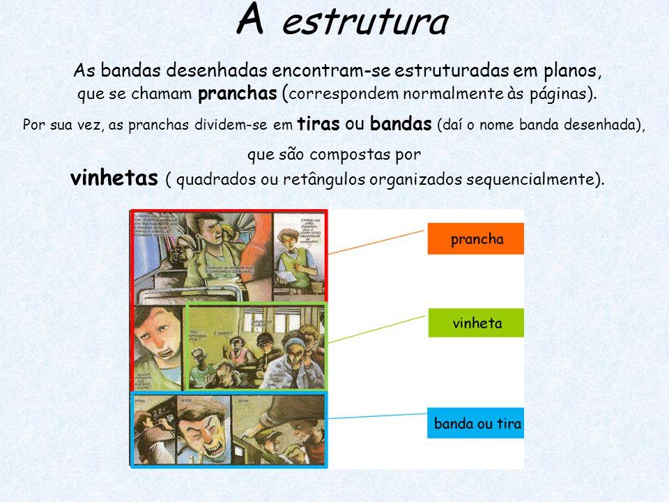 A estrutura As bandas desenhadas encontram-se estruturadas em planos, que se chamam pranchas (correspondem normalmente às páginas).