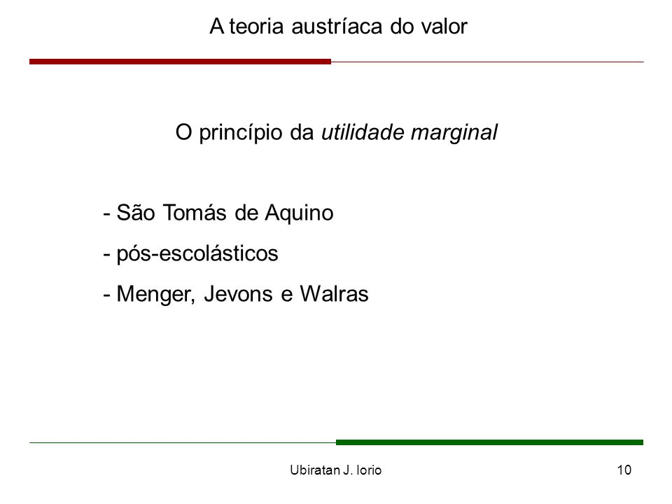 A teoria austríaca do valor
