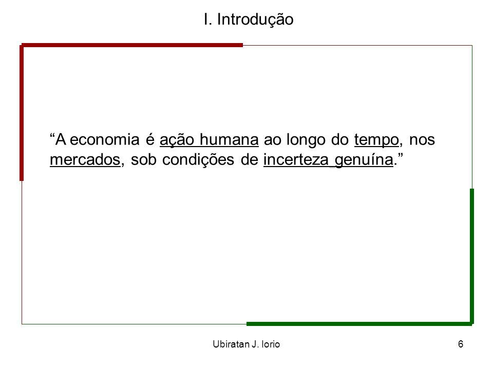 I. Introdução A economia é ação humana ao longo do tempo, nos mercados, sob condições de incerteza genuína.