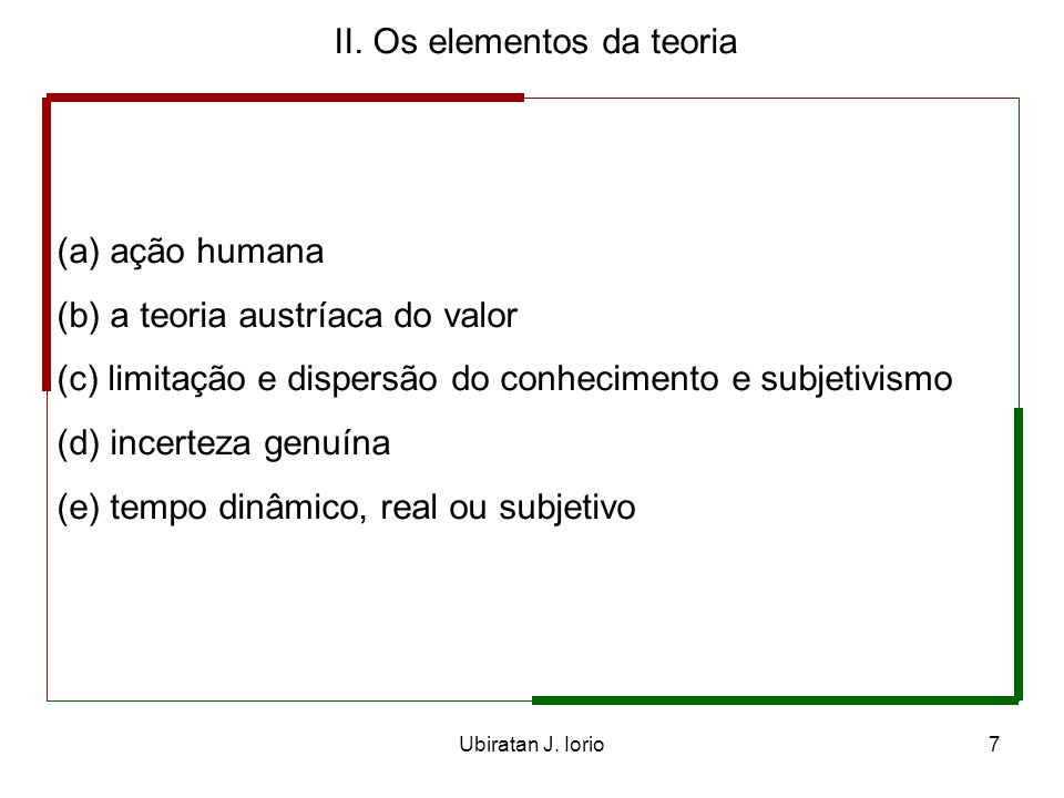 II. Os elementos da teoria