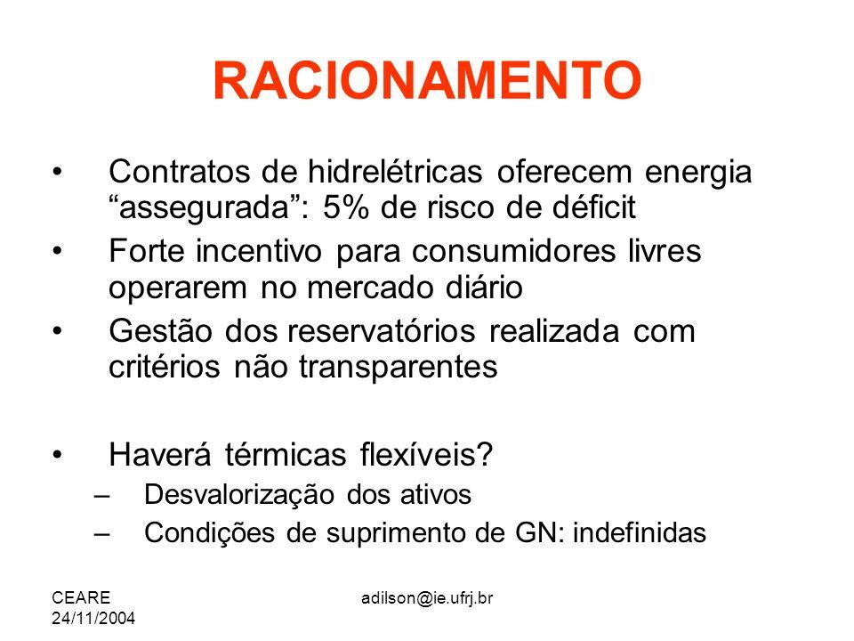 RACIONAMENTOContratos de hidrelétricas oferecem energia assegurada : 5% de risco de déficit.