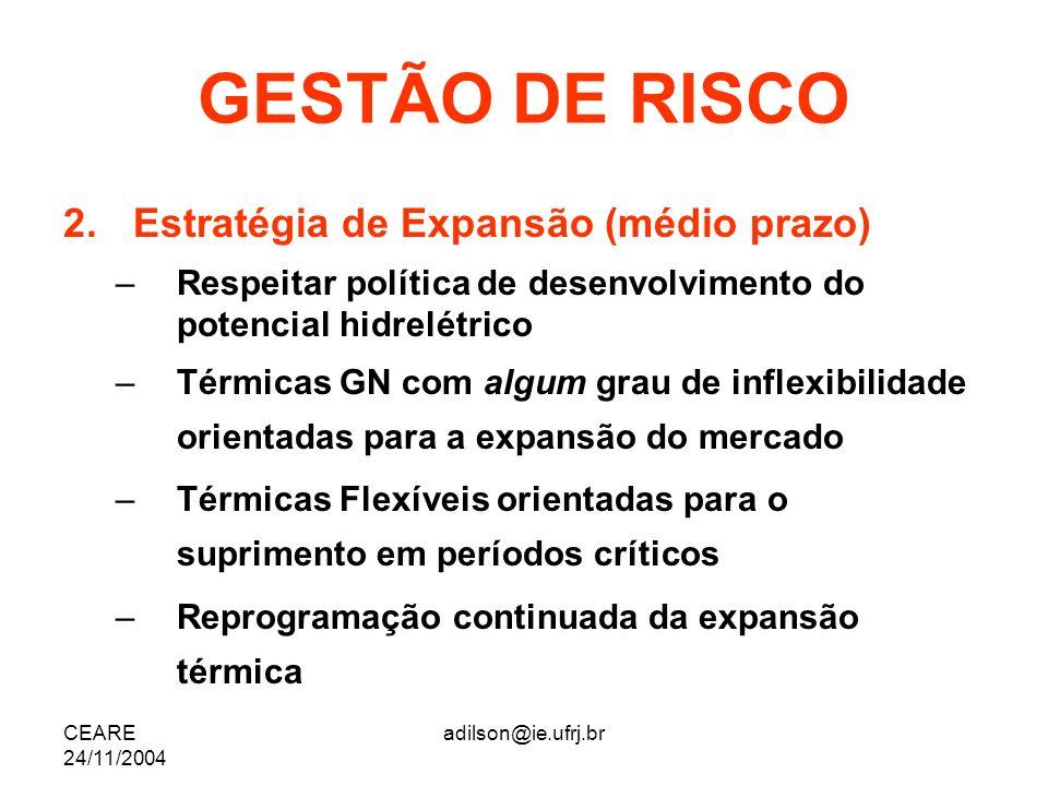 GESTÃO DE RISCO Estratégia de Expansão (médio prazo)