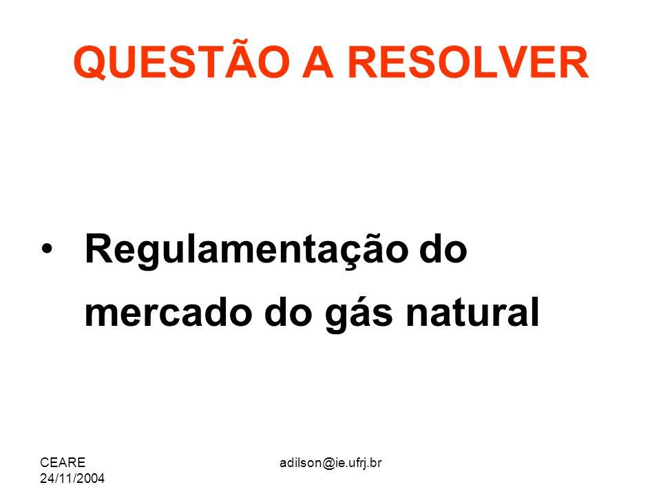 QUESTÃO A RESOLVER Regulamentação do mercado do gás natural CEARE
