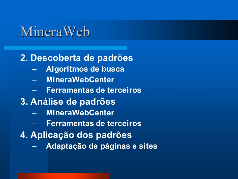 MineraWeb 2. Descoberta de padrões 3. Análise de padrões
