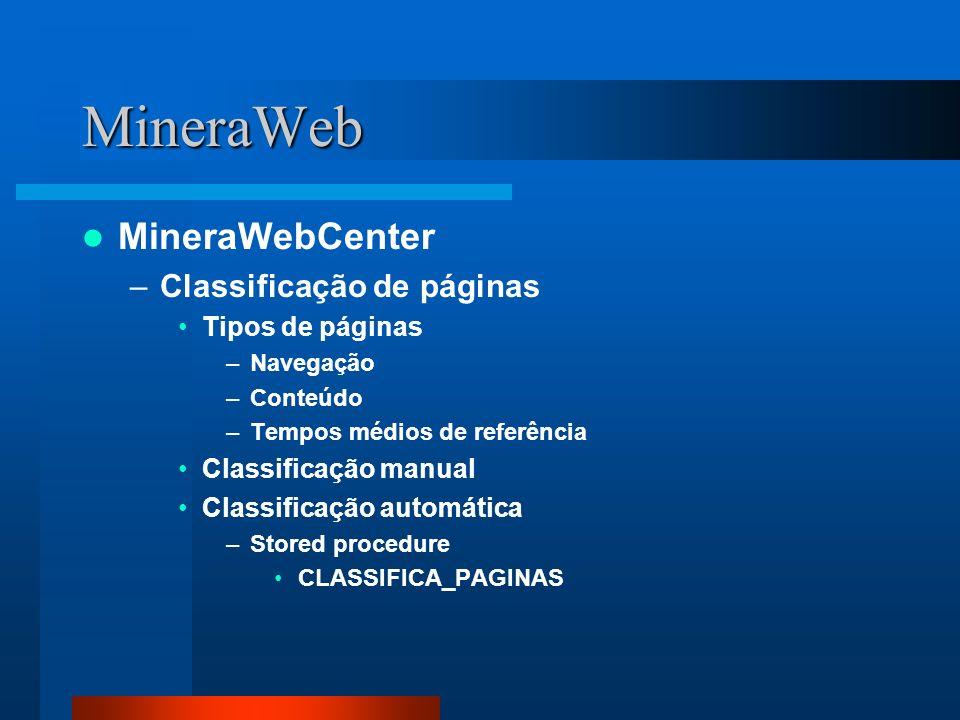 MineraWeb MineraWebCenter Classificação de páginas Tipos de páginas