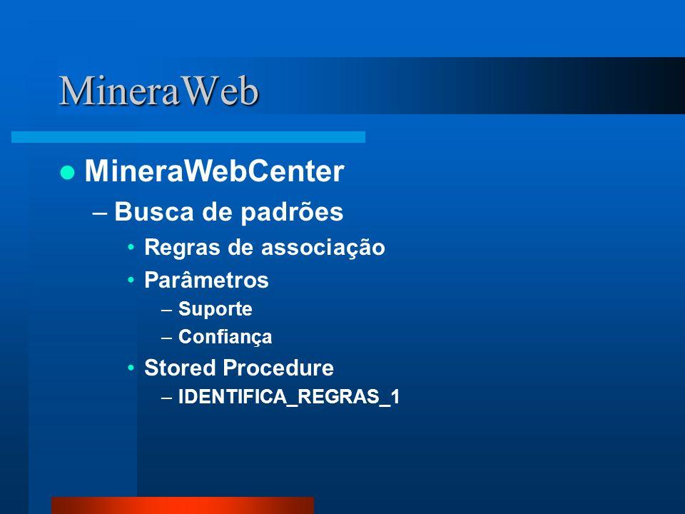 MineraWeb MineraWebCenter Busca de padrões Regras de associação