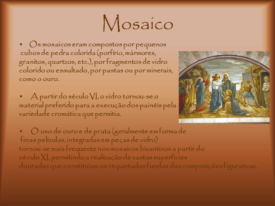 Mosaico Os mosaicos eram compostos por pequenos