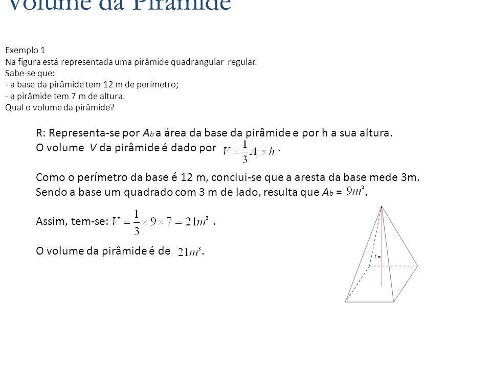Volume da Pirâmide Volume da Pirâmide