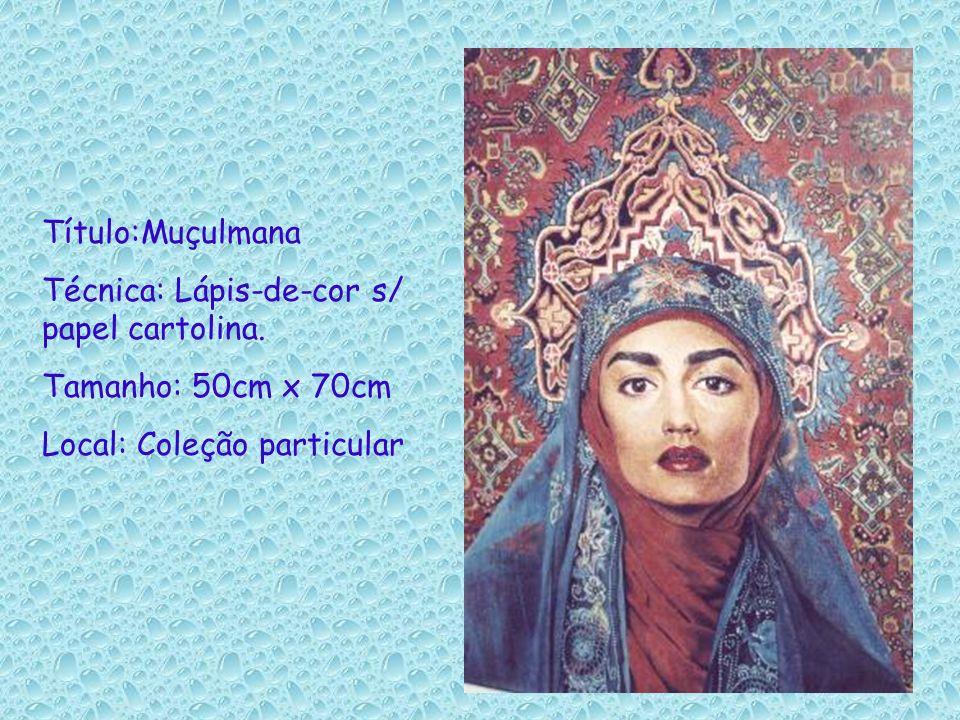 Título:Muçulmana Técnica: Lápis-de-cor s/ papel cartolina.