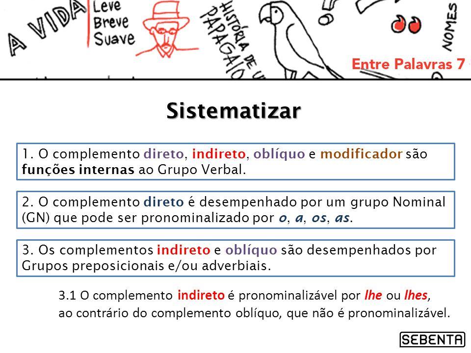 Sistematizar 1. O complemento direto, indireto, oblíquo e modificador são funções internas ao Grupo Verbal.