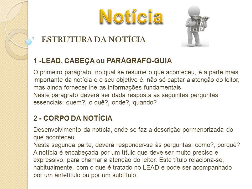 Notícia ESTRUTURA DA NOTÍCIA 1 -LEAD, CABEÇA ou PARÁGRAFO-GUIA