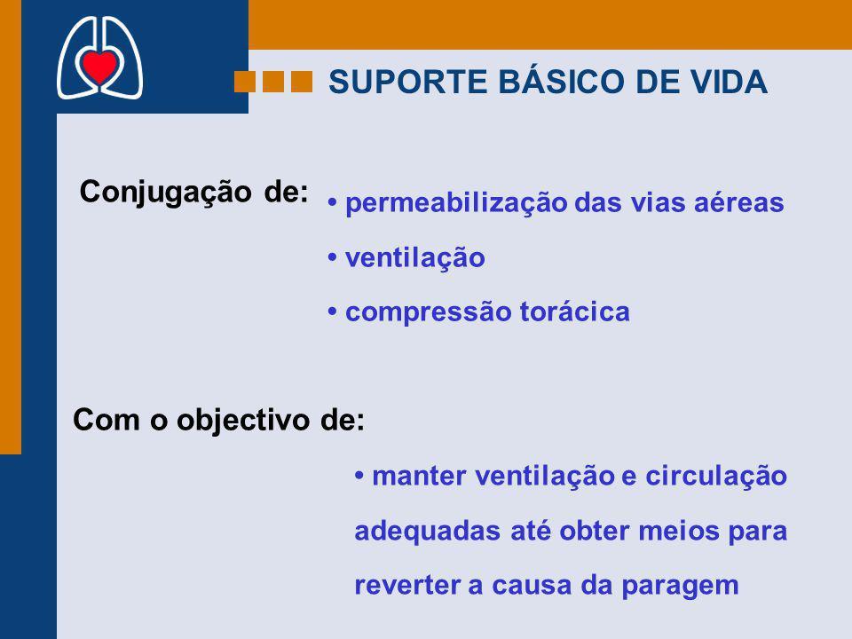 SUPORTE BÁSICO DE VIDA Conjugação de: Com o objectivo de: