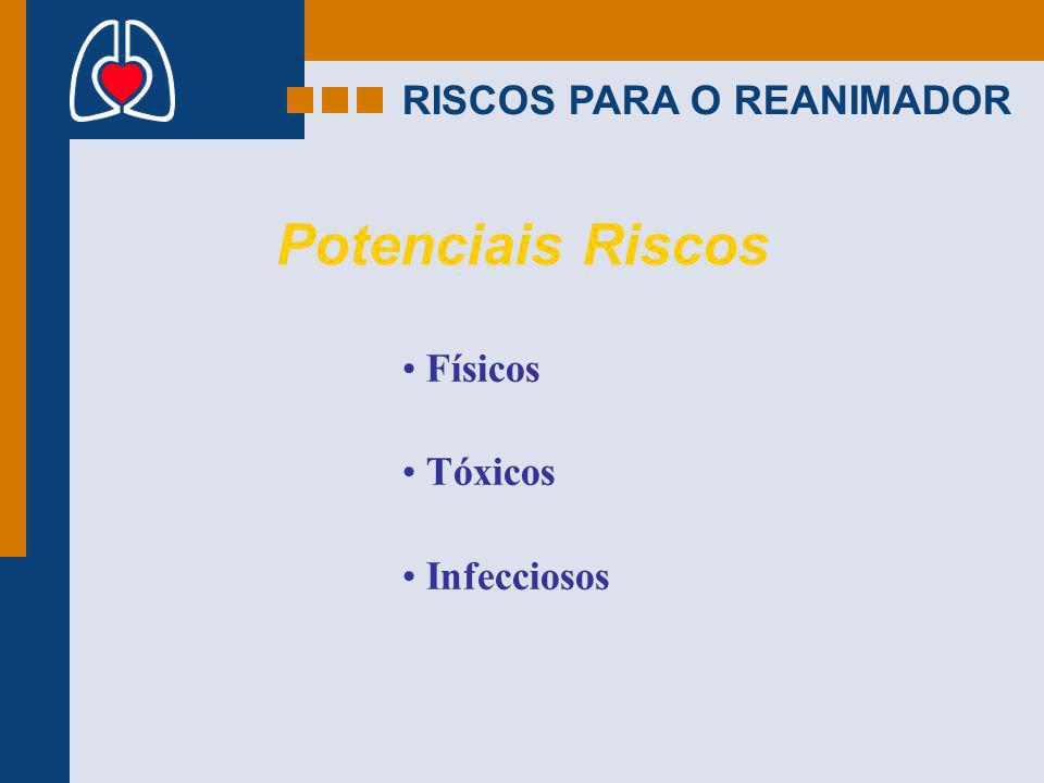 Potenciais Riscos RISCOS PARA O REANIMADOR Físicos Tóxicos Infecciosos