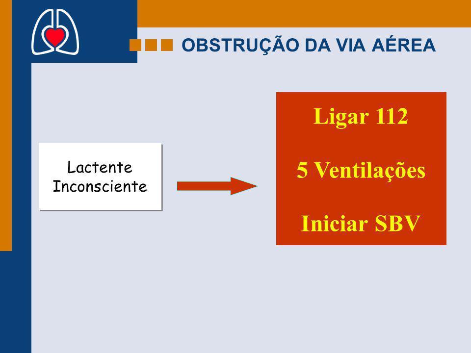 Ligar 112 5 Ventilações Iniciar SBV