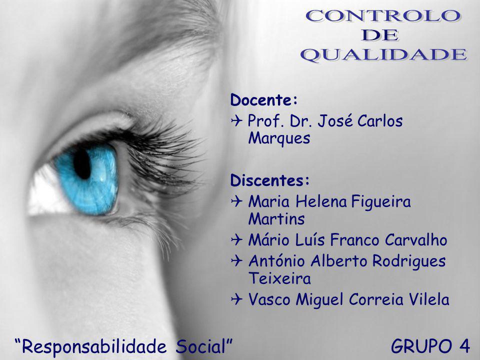 CONTROLO DE QUALIDADE Responsabilidade Social GRUPO 4 Docente: