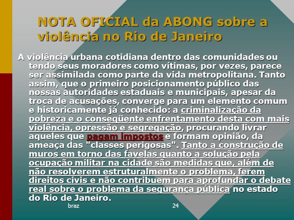 NOTA OFICIAL da ABONG sobre a violência no Rio de Janeiro