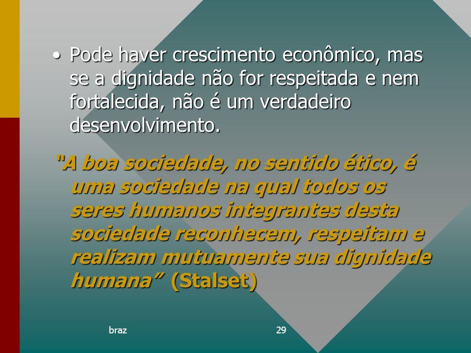Pode haver crescimento econômico, mas se a dignidade não for respeitada e nem fortalecida, não é um verdadeiro desenvolvimento.