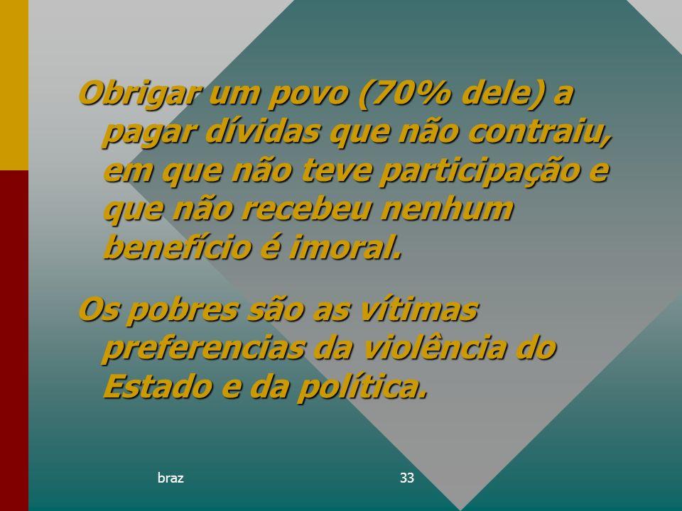 Obrigar um povo (70% dele) a pagar dívidas que não contraiu, em que não teve participação e que não recebeu nenhum benefício é imoral.