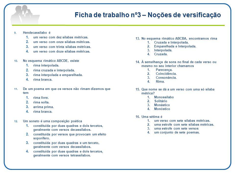 Ficha de trabalho nº3 – Noções de versificação