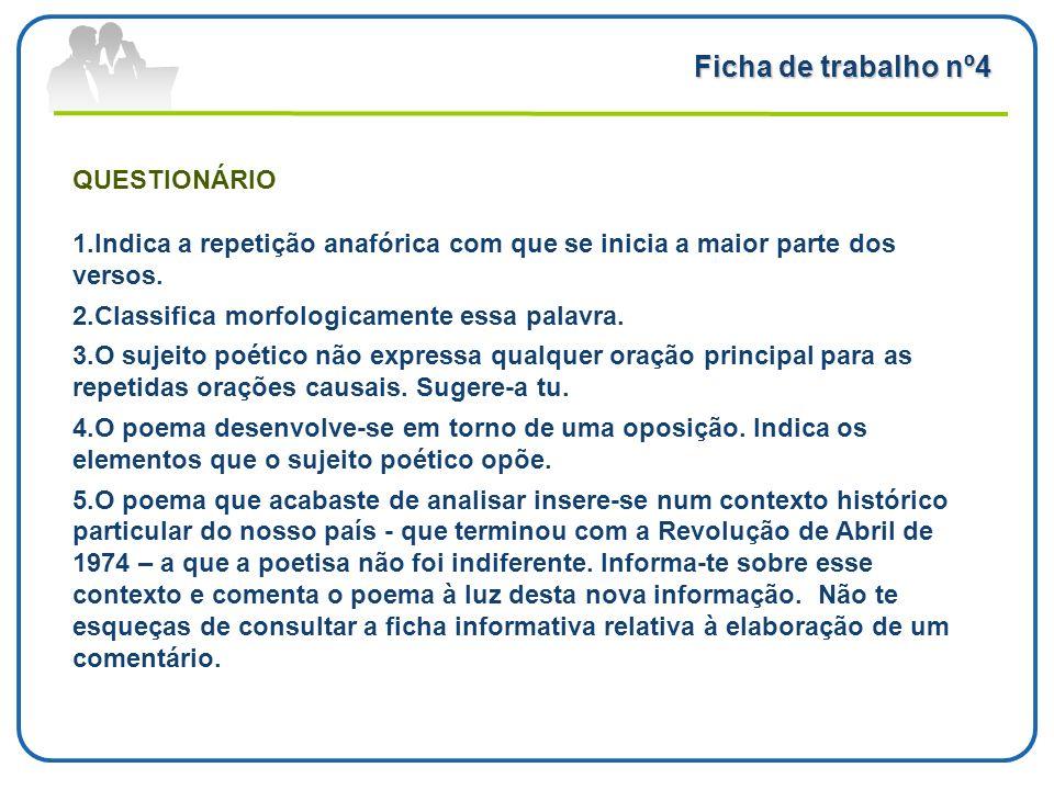 Ficha de trabalho nº4 QUESTIONÁRIO