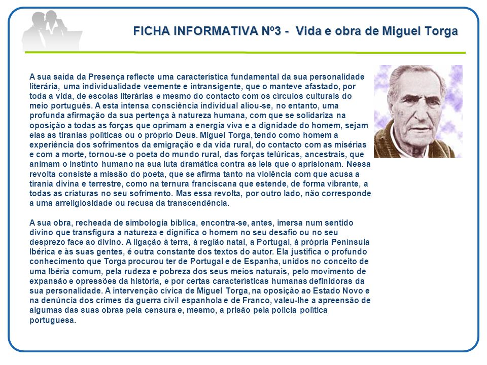 FICHA INFORMATIVA Nº3 - Vida e obra de Miguel Torga