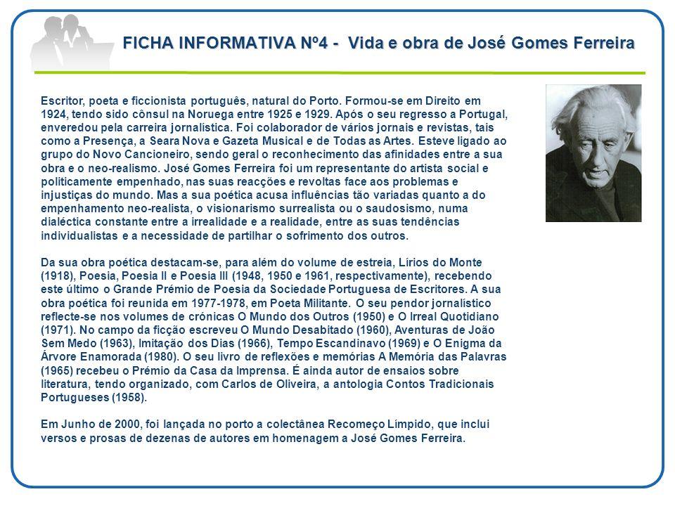 FICHA INFORMATIVA Nº4 - Vida e obra de José Gomes Ferreira
