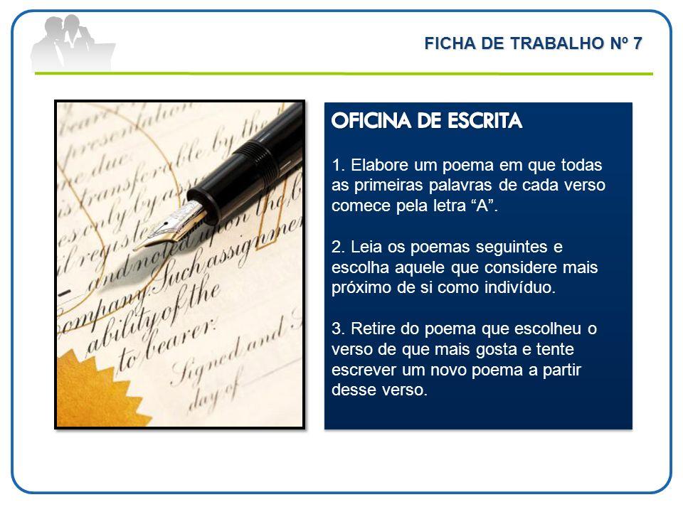 OFICINA DE ESCRITA FICHA DE TRABALHO Nº 7
