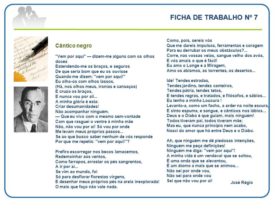FICHA DE TRABALHO Nº 7 Cântico negro