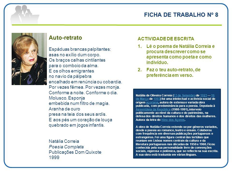 FICHA DE TRABALHO Nº 8 Auto-retrato ACTIVIDADE DE ESCRITA