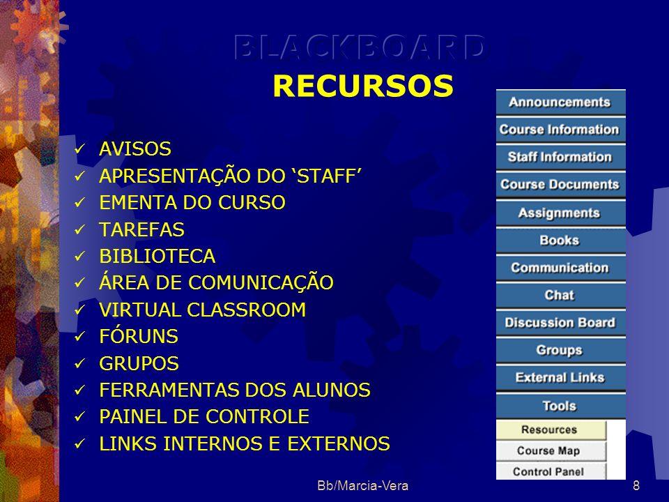 BLACKBOARD RECURSOS AVISOS APRESENTAÇÃO DO 'STAFF' EMENTA DO CURSO