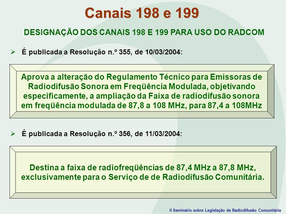 Canais 198 e 199 DESIGNAÇÃO DOS CANAIS 198 E 199 PARA USO DO RADCOM