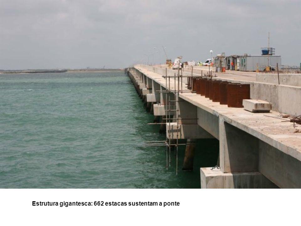 Estrutura gigantesca: 662 estacas sustentam a ponte