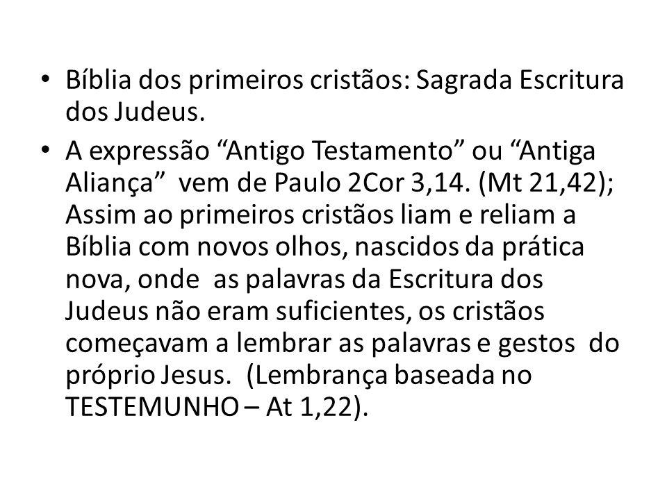 Bíblia dos primeiros cristãos: Sagrada Escritura dos Judeus.