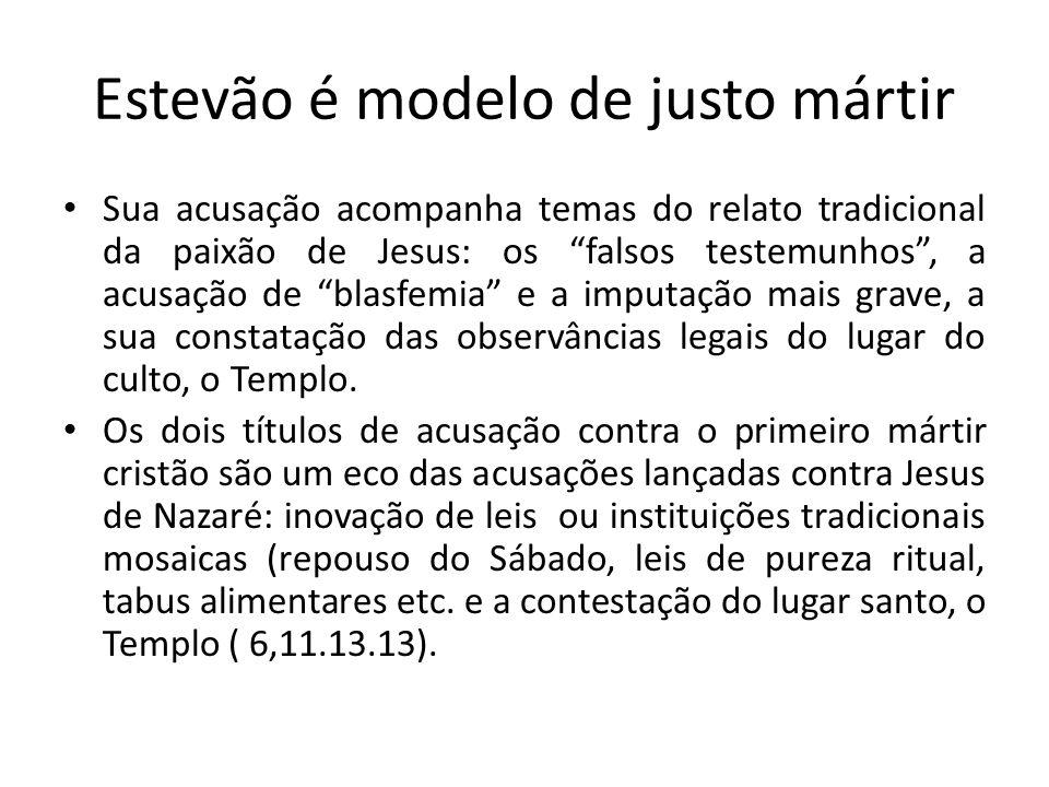Estevão é modelo de justo mártir
