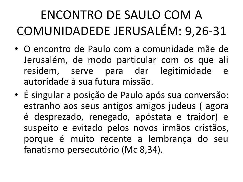 ENCONTRO DE SAULO COM A COMUNIDADEDE JERUSALÉM: 9,26-31