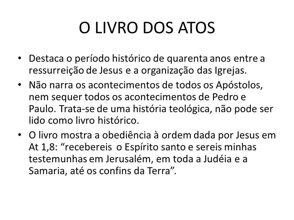 O LIVRO DOS ATOS Destaca o período histórico de quarenta anos entre a ressurreição de Jesus e a organização das Igrejas.