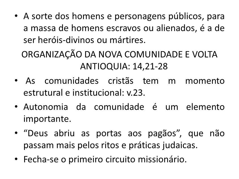 ORGANIZAÇÃO DA NOVA COMUNIDADE E VOLTA ANTIOQUIA: 14,21-28