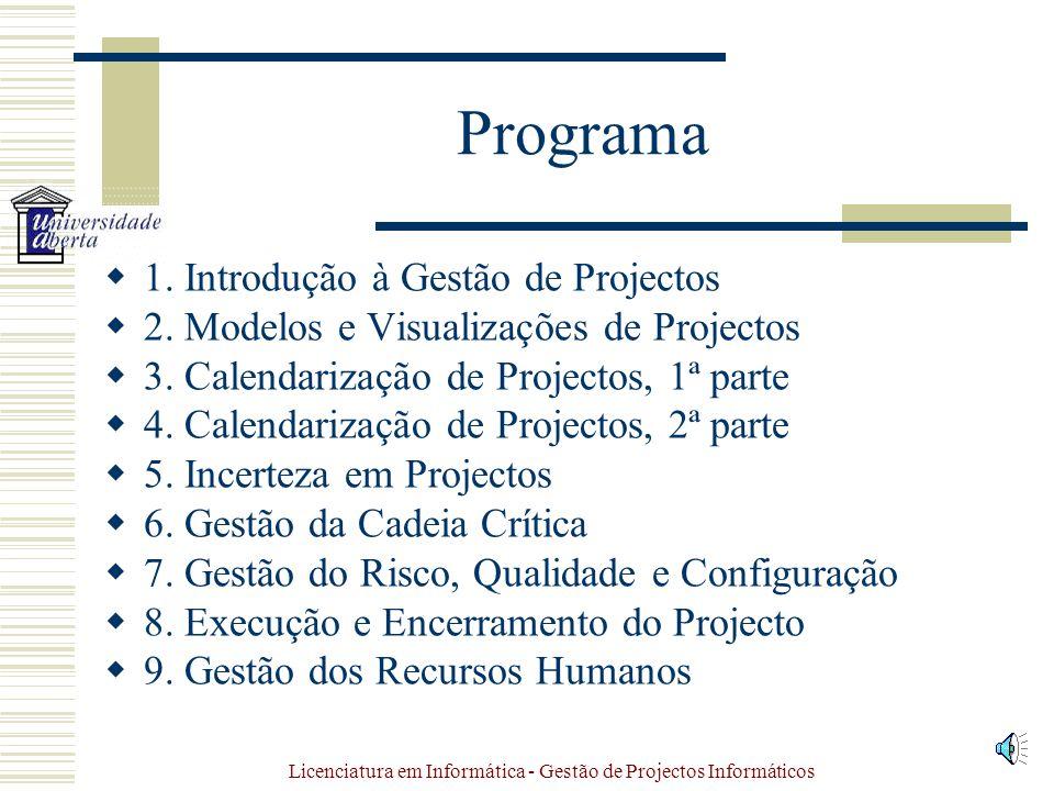 Licenciatura em Informática - Gestão de Projectos Informáticos