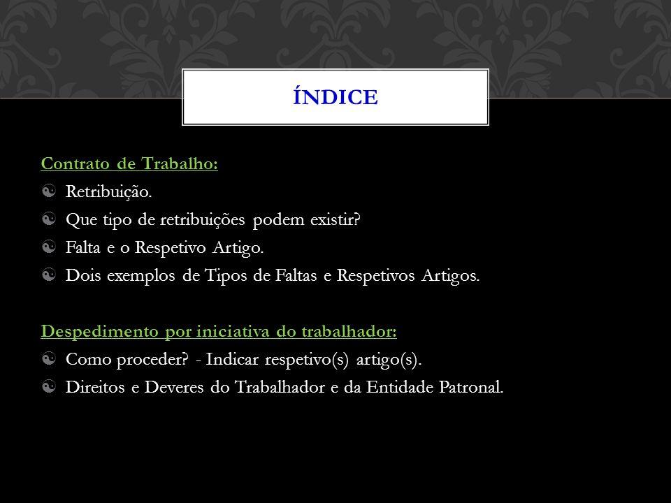 Índice Contrato de Trabalho: Retribuição.