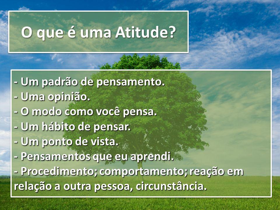 O que é uma Atitude - Um padrão de pensamento. - Uma opinião.