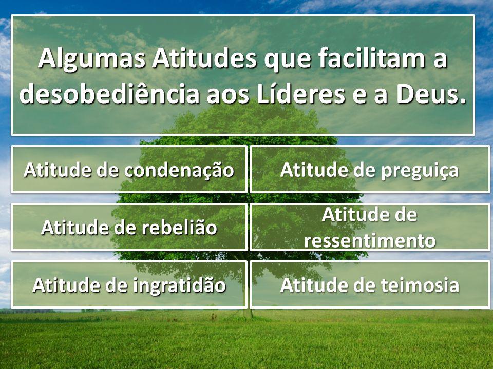 Algumas Atitudes que facilitam a desobediência aos Líderes e a Deus.