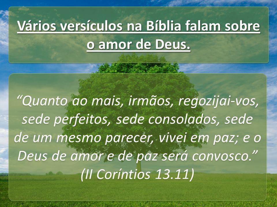 Vários versículos na Bíblia falam sobre o amor de Deus.