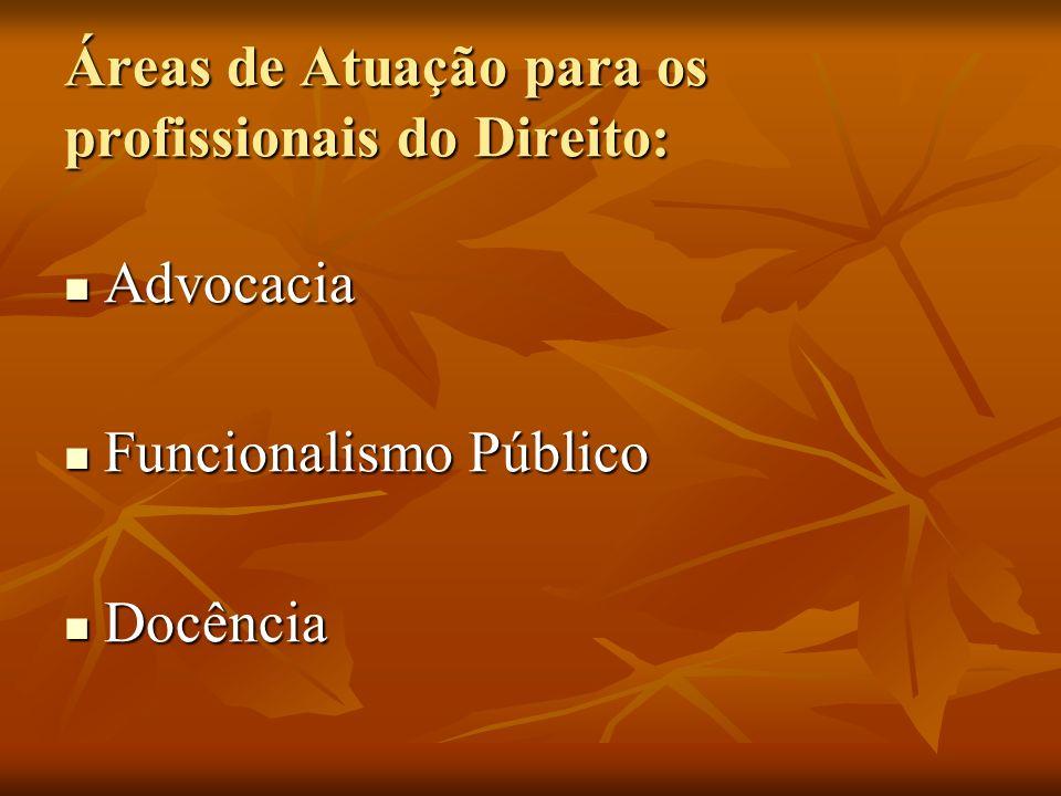 Áreas de Atuação para os profissionais do Direito: