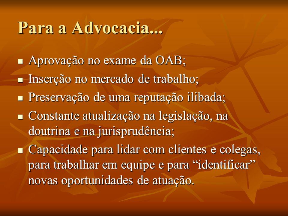 Para a Advocacia... Aprovação no exame da OAB;